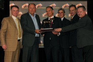 Jockey Club of Canada Chief Steward, Jim Lawson (middle right) presents Canada's 2013 Horse of the Year Award to the connections of Sam-Son Farm, owner and breeder of Up With the Birds. Michael Burns photo