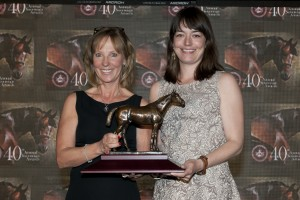 Gemma Freeman (right) on behalf of Stonestreet Stables accepts the Champion Female Sprinter award for Hillaby from Yvonne Schwabe, Director with the CTHS of Ontario