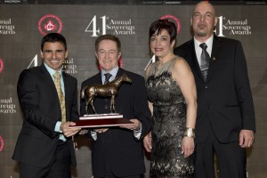Outstanding Jockey Eurico Da Silva, presenter Sandy Hawley, michael burns photo
